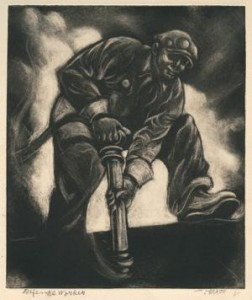 Defense Worker, c. 1941 Carborundum mezzotint over etched guidelines Federal Works Agency, Work Projects Administration, on long-term loan to the Philadelphia Museum of Art from the Fine Arts Collection, U.S. General Services Administration, Washington, D.C., 2-1943-275 (18)