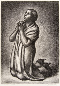 1888-1966; American; The Mourner;20th Century; Lithograph; Gift of Benjamin D. Bernstein; Collection of La Salle University Art Museum.